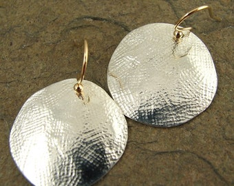 Hammered Silver Disc Earrings, Hammered Silver Earrings, Large Silver Disc Earrings, Mixed Metal Earrings Silver and Gold Big Earrings
