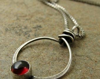 Sterling Silver Garnet Necklace Silver, January Birthday Necklace, Birthstone Necklace, Original Handmade Jewelry