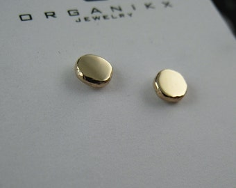 14k Gold Stud Earrings 14k 4mm Solid Gold Studs Small Gold Studs with Sterling Silver Posts, Minimal Earrings, Gold Earrings Organikx