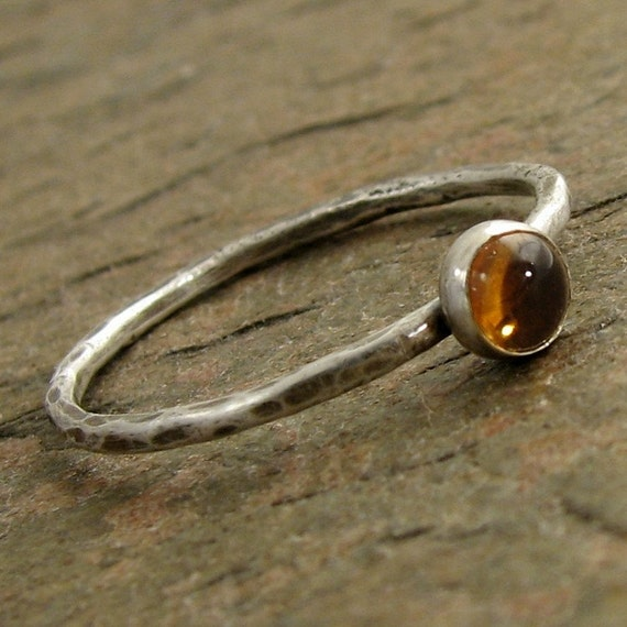 Golden Yellow Citrine Ring, Hammered Sterling Silver Stacking Ring November Birthstone Citrine Stacking Ring, Rustic Oxidized Organikx