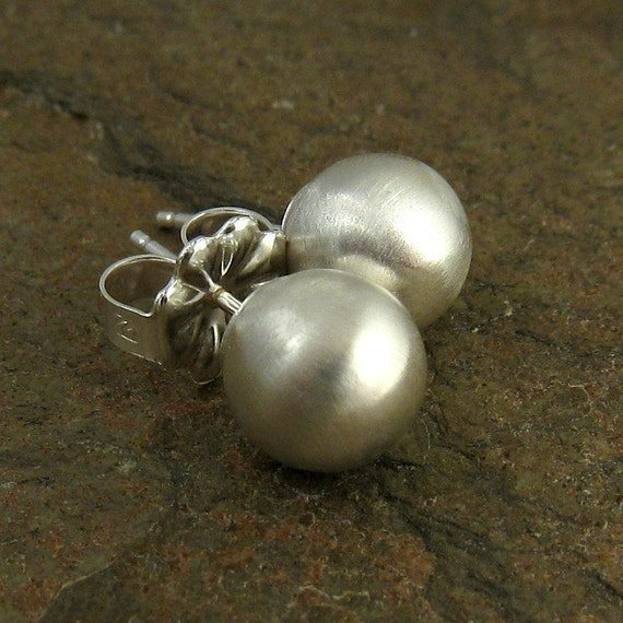 Sterling Silver Ball Stud Earrings Brushed Satin Finish XL 8mm, Minimal Silver Jewelry, Silver Stud Earrings