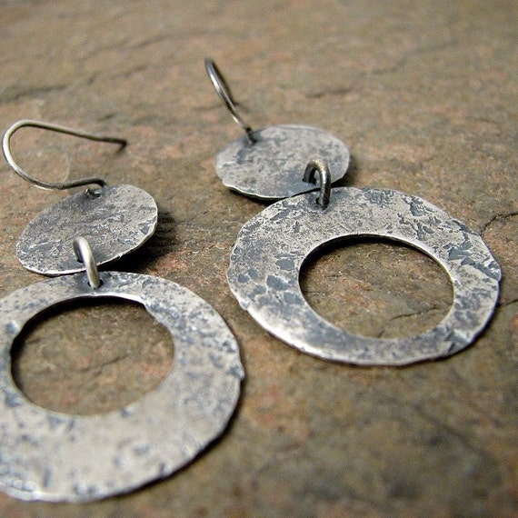 Large Sterling Silver Earrings, Hammered Oxidized Silver Dangle Earrings Silver Asymmetrical Rustic Silver Disc Circles