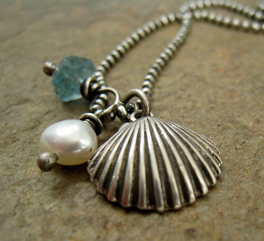 Sterling Silver Clam Seashell Necklace Beach Jewelry Island