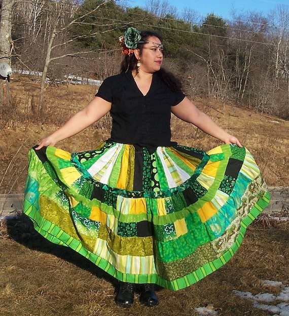 Luck of the Irish 5 yd Skirt-Patchwork Tiered Skirt-Folkloric Boho Hippie Skirt