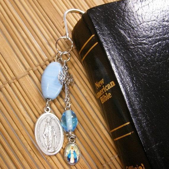 Virgin Mary Miraculous Medal Bible Bookmark - Shepherds hook style