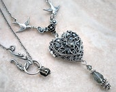 Silver Heart Gothic Locket Necklace // Swarovski Crystal // Romantic Vintage style // Personalized custom name //  gift wife