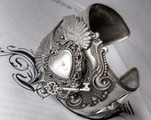Goth Watch Cuff Wings Silver Bracelet Key Wings Victorian Gothic Jewelry Ladies Watch