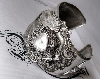 Gothic Watch Gothic Accessories Gothic Bracelet Silver Cuff Watch,Silver Wings Heart shaped Watch,Angel Cupid,