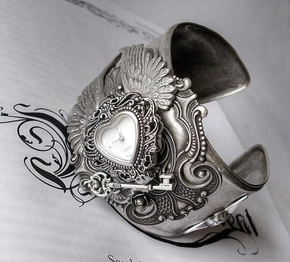 Victorian Gothic Watch // Silver Wings Cuff Bracelet // Dark Romance // Gothic Jewelry