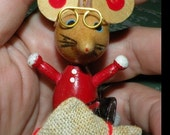 Five Vintage Christmas Ornaments Mouse Mice Wooden Instant Collection