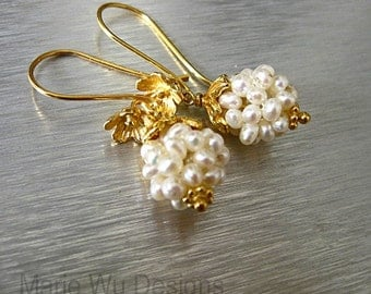 Woven Fresh Water Pearl Clusters-24k Gold Vermeil Blossom Earrings