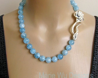 SALE-12mm NATURAL Aquamarine Spheres-March Birthstone-3in Sterling Rose Clasp Hand Knotted Necklace