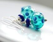 Teal Earrings, Blue Glass Earrings, Polka Dot Jewelry, Funky Earrings, Fun Jewelry, Statement Earrings, Sterling Silver - Whimsy