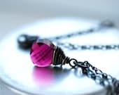 Ruby Crystal Necklace, Simple Pendant Necklace, Swarovski Elements, Crystal Pendant, Oxidized Silver, July Birthstone color - City Lights