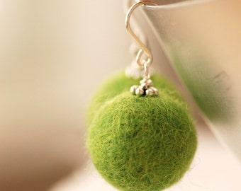 Felted Bead Earrings, Green Earrings, Sterling Silver Earrings, Felted Merino Wool Beads - Fuzzy Sweater