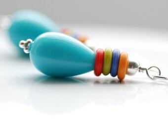 Turquoise Blue Earrings, Lucite Earrings, Whimsical Earrings, Fun Jewelry, Summer Jewelry, Colorful Earrings, Sterling Silver - Fiesta