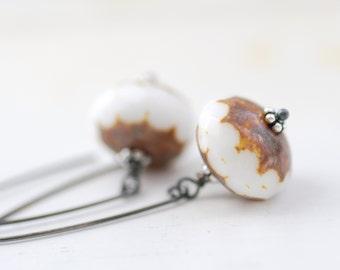 White Earrings, Snow White Glass Earrings, Dangle Earrings, Winter Earrings, White and Brown Glass and Oxidized Sterling Silver - simplify