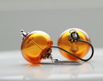 Topaz Glass Earrings, Honey Amber Earrings, Glass Jewelry, Jewel Tone Wedding, Unusual Wedding, Oxidized Silver - Honey