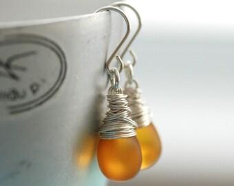 Amber Glass Earrings, Frosted Glass Earrings, Butterscotch Yellow Earrings, Yellow Wedding, Bridesmaid Earrings - Butterscotch Kiss