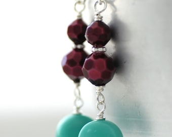 Beachy Earrings, Summer Jewelry, Purple and Teal, Glass Earrings, Seafoam Teal Vintage Glass, Plum Acrylic and Sterling Silver - Beach House