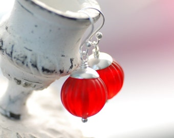 Red Earrings, Poppy Red, Vintage Lucite Jewelry, Sterling Silver, Red Wedding, Bridesmaid Jewelry