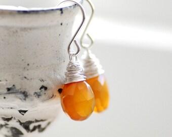 Tangerine Earrings, Gemstone Earrings, Orange Chalcedony with Sterling Silver, Maple Sugar, Semi Precious Stone Jewelry, Chalcedony Earrings