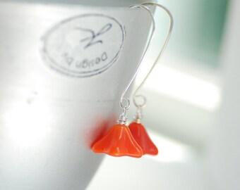 Orange Earrings, Glass Jewelry, Pumpkin Orange, Autumn Earrings, Flower Earrings, Nature Jewelry, Botannical, Dangle Earrings - Posies