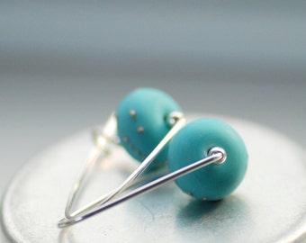 Glass Earrings, Turquoise Blue Earrings, Etched Glass Earrings, Beach Wedding, Lagoon Blue, Bridal Jewelry, Tropical Wedding - Bora Bora