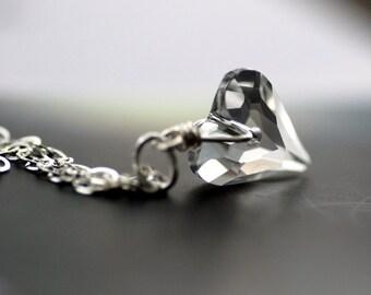 Crystal Necklace, Heart Crystal Pendant, Swarovski Elements, Sterling Silver, Wedding Jewelry, Bridal Jewelry - Wild Innocence