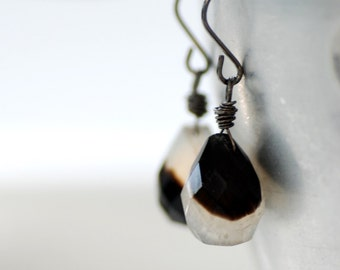 Ivory and Brown Chalcedony Stone Earrings, Rare Semi Precious Stones, Bicolor Earrings, Wire Wrapped Earrings, Oxidized Sterling Silver