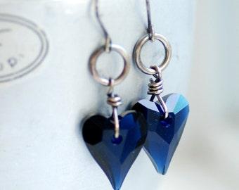 Dark Blue Earrings, Crystal Heart Earrings, Indigo Blue, Midnight Blue, Swarovski Elements, Heart Crystals, Bridesmaid Earrings - Ink