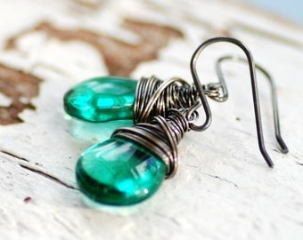 Teal Earrings, Peacock Wedding, Tropical Wedding Jewelry, Caribbean Jewelry, Glass Earrings, Bridesmaid Jewelry