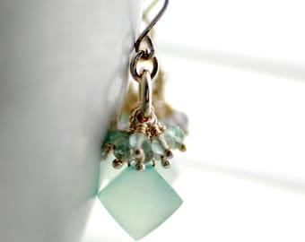 Cluster Earrings, Aqua Chalcedony Earrings, Statement Earrings, Gemstone Jewelry, Semi Precious Stones, Bridal Earrings - Ballerina
