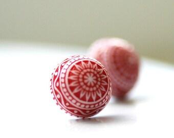 Stud Earrings, Red and White Earrings, Scandinavian Design, Fresh, Post Earrings, Lucite Jewelry, Simple Studs, Nordic
