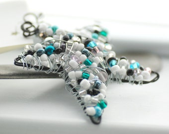 Star Ornament, Wire Wrapped Star, White and Teal Star, Frosty, Beaded Ornament, Christmas Ornament, Suncatcher or Decoration - First Frost