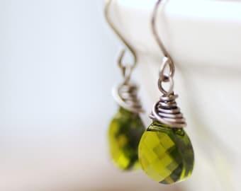 Green Crystal Earrings, Glass Jewelry, Oxidized Sterling Silver, Peridot Green, August Birthstone, Birthstone Jewelry - City Lights