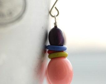 Pink and Purple Earrings,  Lucite Earrings, Colorful Jewelry, Pastel Earrings, Pink and Plum Lucite and Sterling Silver - Fiesta