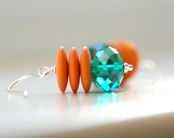 Teal and Orange Earrings, Fun Earrings, Colorful Earrings, Playful Jewelry, Stacked Earrings, Statement Jewelry, Whimsical Earrings