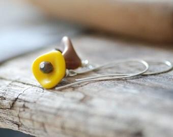 Flower Earrings, Sunflower Jewelry, Yellow and Brown, Sterling Silver, Autumn Earrings, Simple Dangle Earrings, Delicate Jewelry