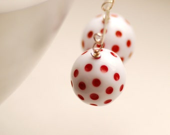 Red and White Earrings, Polka Dot Earrings, Vintage Lucite and Sterling Silver - simplify