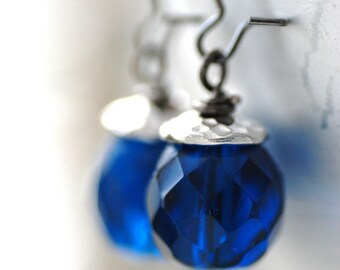 Blue Glass Earrings, Capri Blue Glass, Pewter and Gunmetal - After Hours