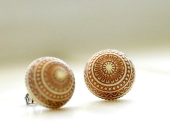 Large Studs, Stud Post Earrings, Elegant Earings, Simple Studs, Gold and Ivory Vintage Lucite Cabochons and Steel