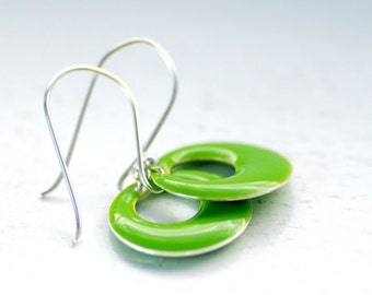 Enameled Earrings, Neon Jewelry, Circle Earrings, Geometric, Lime Green, Sterling Silver, Whimsical Earrings
