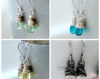 Flower Girl Earrings, Dainty Earrings, Little Girl Earrings, Wedding Jewelry Under 25, Pastel Glass Earrings with Sterling Silver