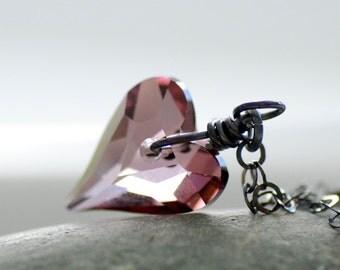 Antique Pink Crystal Heart Necklace, Pendant Necklace, Heart Pendant, Heart Pendant, Romantic Jewelry, Bridesmaid Necklace - Lilac