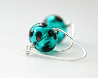 Teal Earrings, Teal Jewelry, Teal and Black, Polka Dot Jewelry, Simple Modern Earrings, Funky Earrings, Sterling Silver
