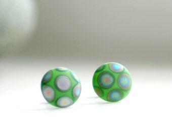Post Earrings, Green Studs, Polkadot Jewelry, Vintage Glass Earrings, Stainless Steel Posts, Geometric