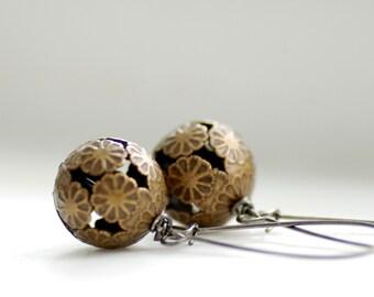 Brass Earrings,  Filigree Earrings, Floral Earrings, Rustic Jewelry, Dangle Earrings, Distressed Brass and Gunmetal - Forgotten Path