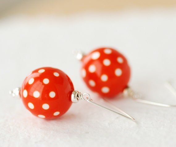 Funky Earrings, Orange and White, Lucite Earrings, Polkadot Jewelry, Sterling Silver, Dangle Earrings - Swiss Dot