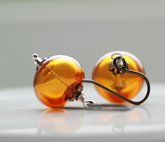 Topaz Glass Earrings, Honey Amber Earrings, Glass Jewelry, Jewel Tone Wedding, Unusual Wedding, Oxidized Silver - Honey